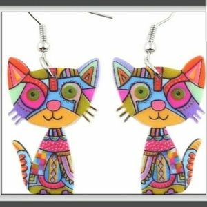Colorful Whimsical Acrylic Cat Earrings
